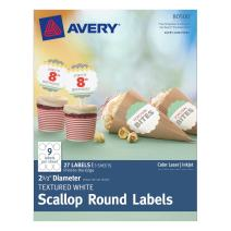 Avery Scallop 2.5 Inch Round Labels with Sure Feed for Laser & Inkjet Printers, 27 White Labels (80500)