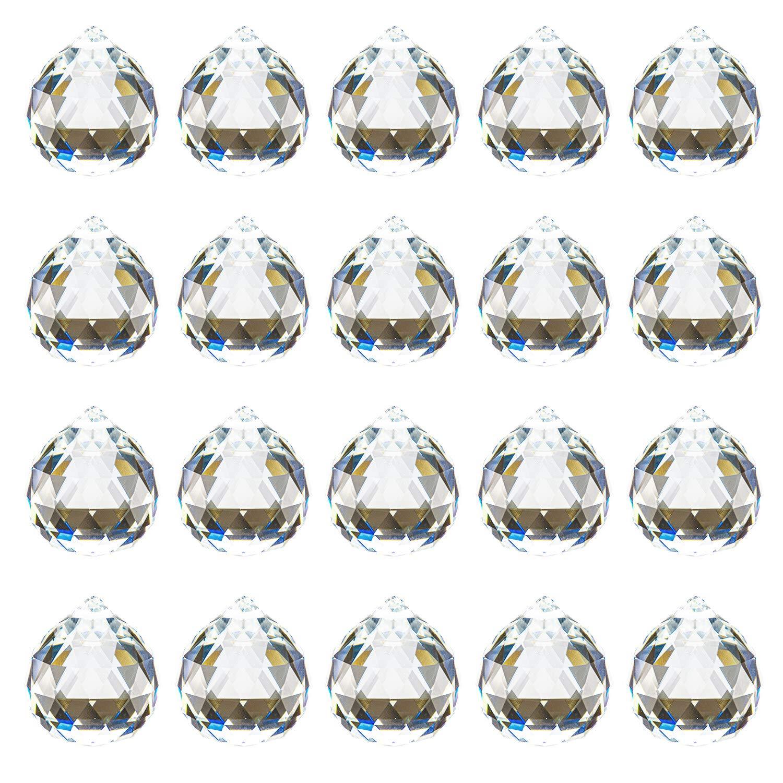 Yesland 20 Pack Crystal Ball Prism 40mm / 1.57 Inch Decorative Ball - Suncatcher Rainbow Pendants Maker - Perfect for Chandelier Window & Wedding Decoration