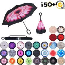 ABCCANOPY Inverted Umbrella,Double Layer Reverse Rain&Wind Teflon Repellent Umbrella for Car and Outdoor Use, Windproof UPF 50+ Big Straight Umbrella with C-Shaped Handle,pink flower