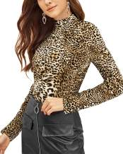 VOTEPRETTY Womens Long Sleeve Shirt Leopard Print Turtleneck Casual Tops