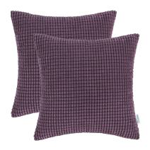 CaliTime Pack of 2 Comfy Throw Pillow Covers Cases for Couch Sofa Bed Decoration Comfortable Supersoft Corduroy Corn Striped Both Sides 16 X 16 Inches Deep Purple