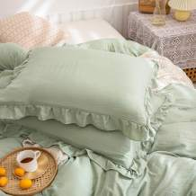 Merryword Green Pillow Shams Sea Green RuffleStandardPillowcases Setof2 Solid Ruffled Fringe Design Sage Green Shabby Chic Pillowcases 2Pack (King (20''x36''), Sea Green)