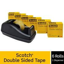 Scotch Double Sided Tape with Deluxe Desktop Tape Dispenser, No Mess, Strong, Engineered for Office and Home Use, 1/2 x 900 Inches, Boxed, 6 Rolls, 1 Dispenser (665-6PKC40)