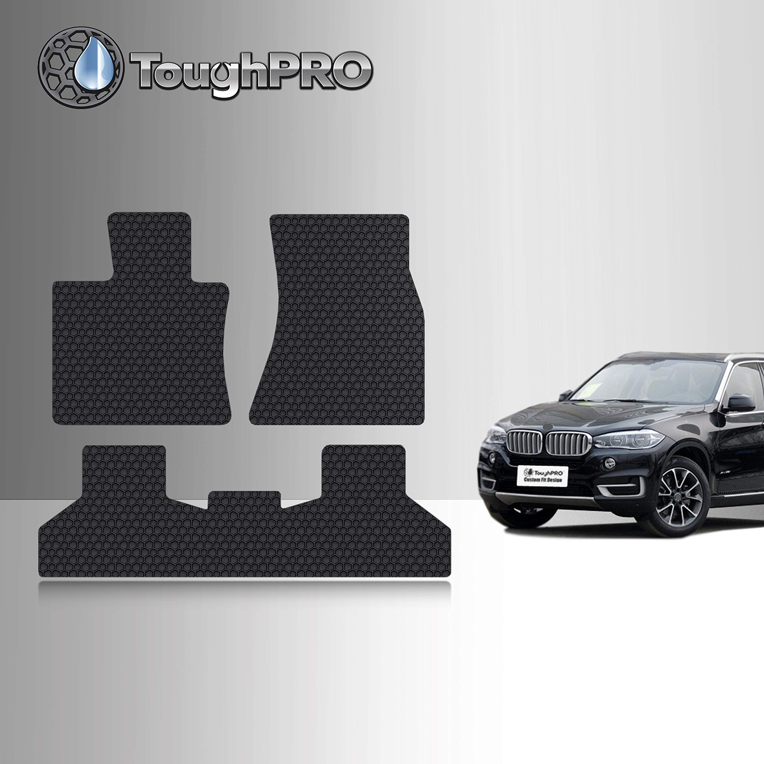 TOUGHPRO Floor Mat Accessories Set Compatible with BMW X5 - All Weather - Heavy Duty - (Made in USA) - Black Rubber - 2014, 2015, 2016, 2017, 2018 (Front Row + 2nd Row)