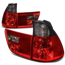 Replacement for BMW E53 X5 Pair Smoked Lens Red Rear Tail Brake+Corner Signal Light