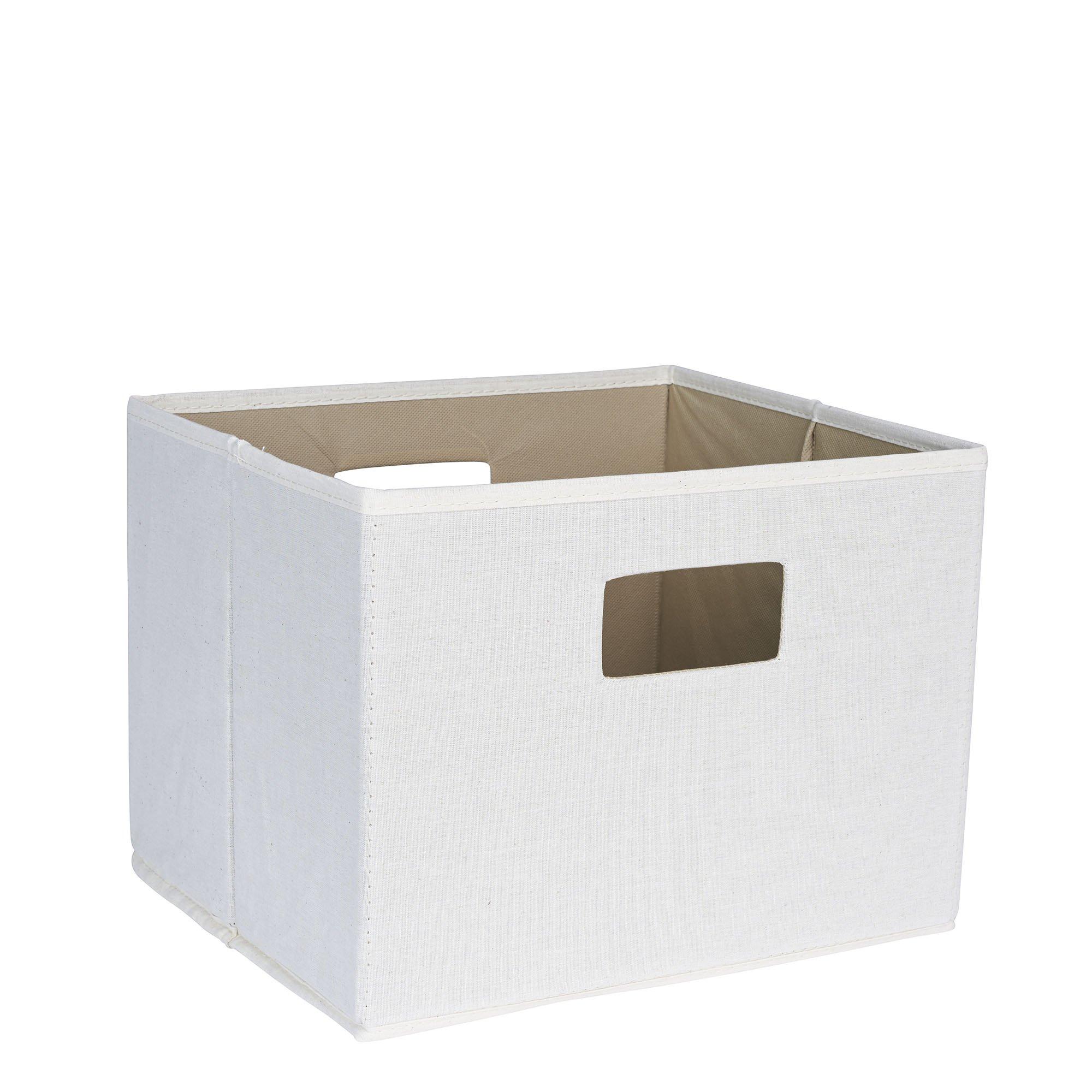 Household Essentials 119 Open Storage Bin with Handles - Beige Canvas,Natural White