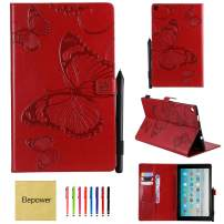 All-New Fire HD 10 Tablet(7th Generation/9th Generation, 2017/2019 Release), Elepower Butterfly Embossed Folio Folding Stand Cover with Card Stylus Holder for Kindle 10.1 Inch Tablet, Red