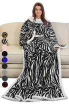 Catalonia Sherpa Wearable Blanket with Sleeves Arms,Super Soft Warm Comfy Large Fleece Plush Sleeved TV Throws Wrap Robe Blanket for Adult Women and Men,Zebra