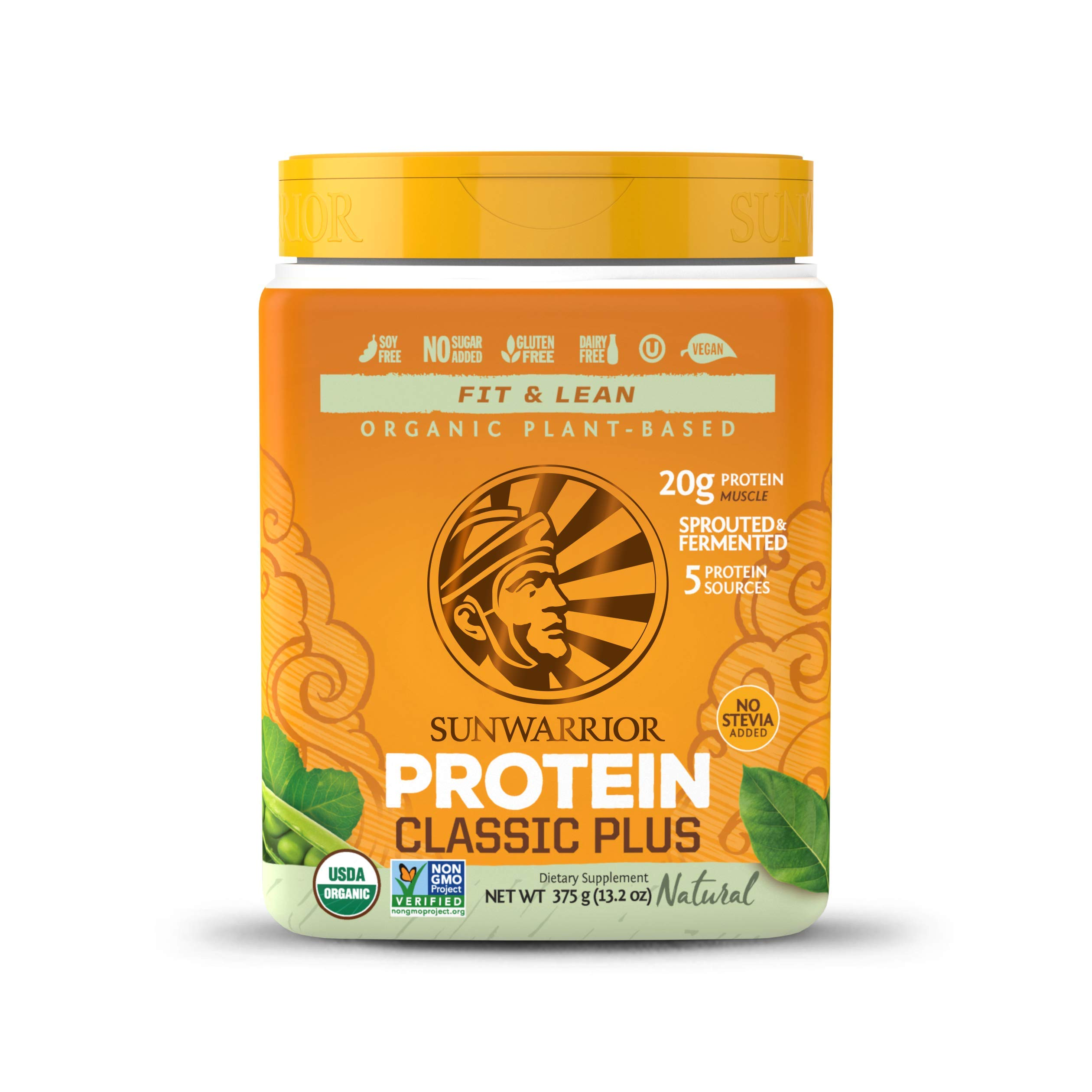 Sunwarrior - Classic Plus, Vegan Protein Powder with Peas & Brown Rice, Raw Organic Plant Based Protein, Natural, 15 Servings