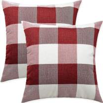 Artaimee Red and White Buffalo Check Plaid Throw Pillow Covers 18x18 Pack of 2 Pillowcase Bed Couch Cushion Case