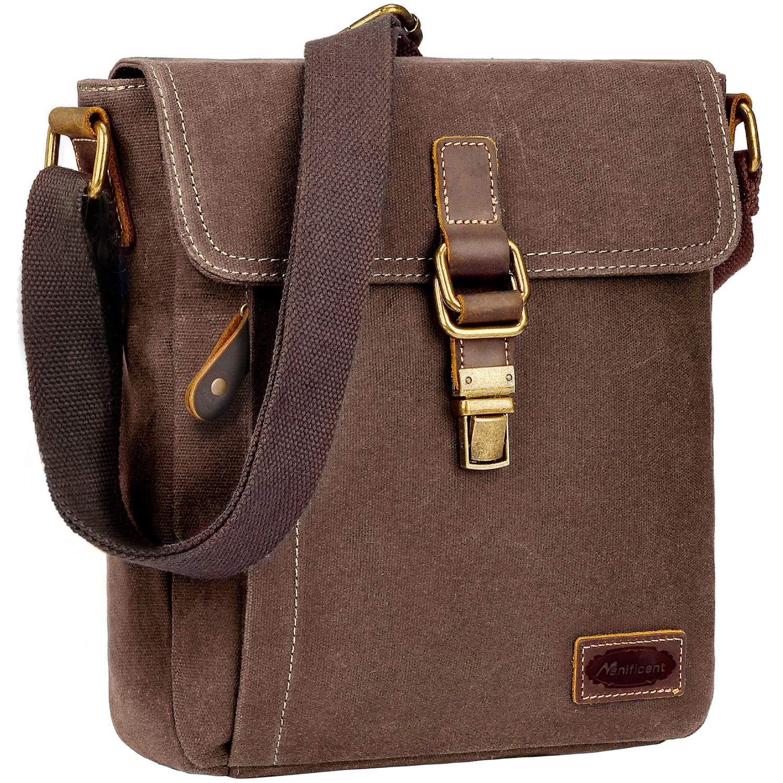 Mens Messenger Bag, Crossbody Bags for men Anti theft Waxed Canvas Messenger bag for Men Water Resistant,Brown