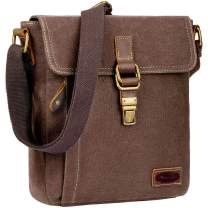 Mens Messenger Bag, Crossbody Bags for men Anti theft Waxed Canvas Messenger bag for Men Water Resistant,Brown