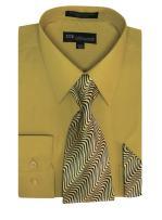 Milano Moda Men's Long Sleeve Dress Shirt With Matching Tie And Handkerchief SG21A