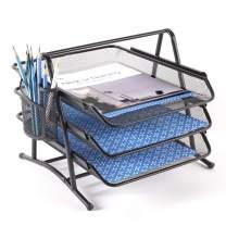 NEATOPA 3 Tier Stackable Letter Tray Metal Mesh Paper File Holder Desk Organizer Pen Holder (Black)
