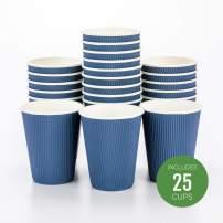 "12 oz Midnight Blue Paper Coffee Cup - Ripple Wall - 3 1/2"" x 3 1/2"" x 4 1/4"" - 25 count box - Restaurantware"