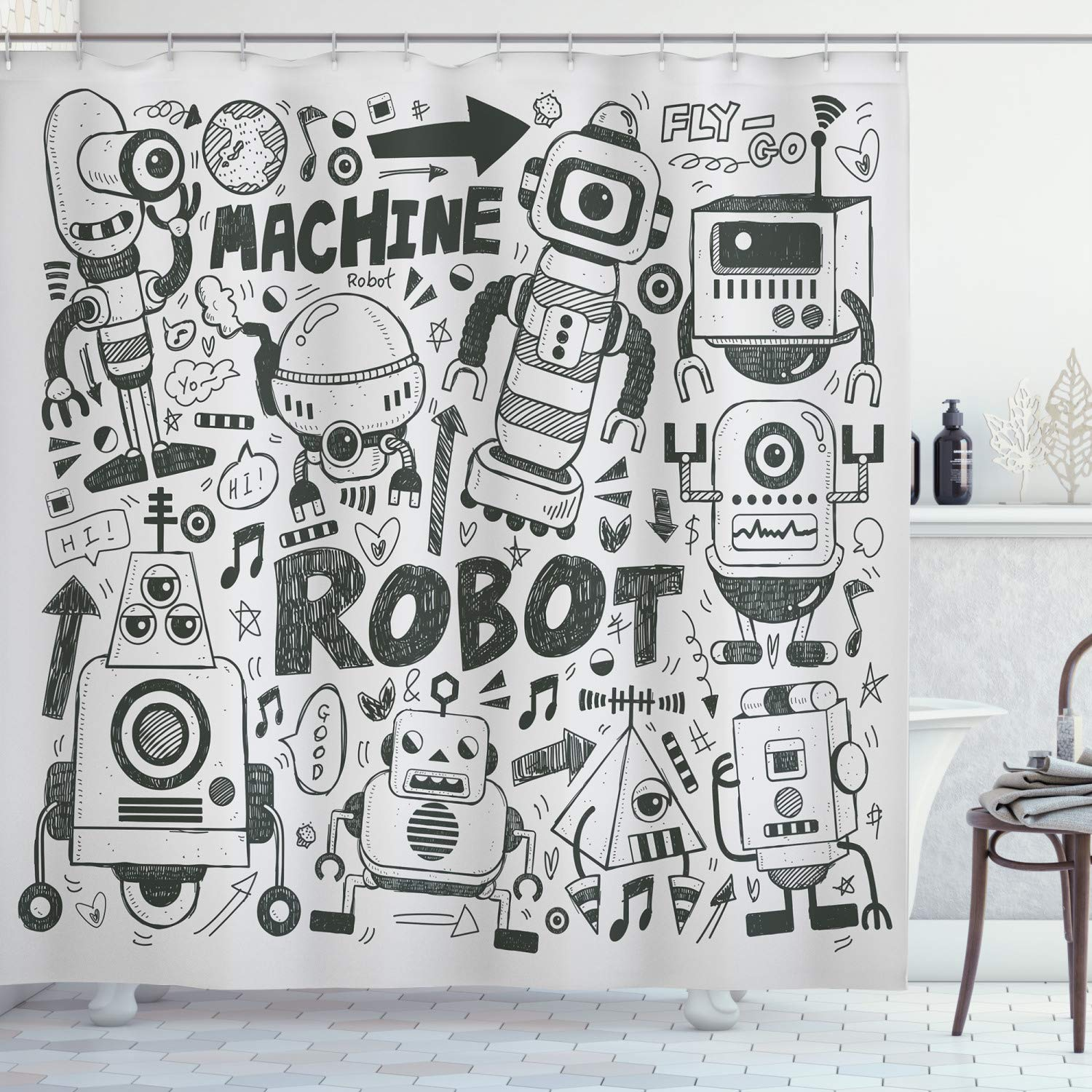 """Ambesonne Robot Shower Curtain, Futuristic Space Doodle Style Androids Sci Fi Pattern Fantasy Machine Art Print, Cloth Fabric Bathroom Decor Set with Hooks, 84"""" Long Extra, Charcoal"""