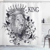 """Ambesonne King Shower Curtain, Reign of The Jungle Forest of Courage Safari Animal Lion Grunge Design, Cloth Fabric Bathroom Decor Set with Hooks, 84"""" Long Extra, White Black"""