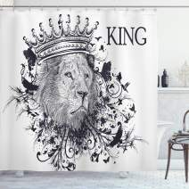 """Ambesonne King Shower Curtain, Reign of The Jungle Forest of Courage Safari Animal Lion Grunge Design, Cloth Fabric Bathroom Decor Set with Hooks, 75"""" Long, White Black"""