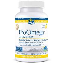 Nordic Naturals ProOmega - Fish Oil, 650 mg EPA, 450 mg DHA, High-Intensity Support for Cardiovascular, Neurological, Eye, Joint, and Immune Health*, Lemon Flavored, 90 Soft Gels