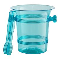 Exquisite 1.5 Quart Hard Plastic Ice Bucket With Tongs- 6 Count- Turquoise