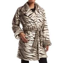 Kendall + Kylie Women's Zebra Fuzz Trench Wrap Robe