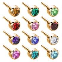 Nina Medikal Gold Plated Stud Earrings for Women and Men - Hypoallergenic Stainless Steel Jewelry Set - Multipack