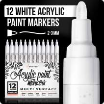 White Paint pens for Rock Painting, Stone, Ceramic, Glass, Wood. Set of 12 Acrylic Paint Markers medium tip