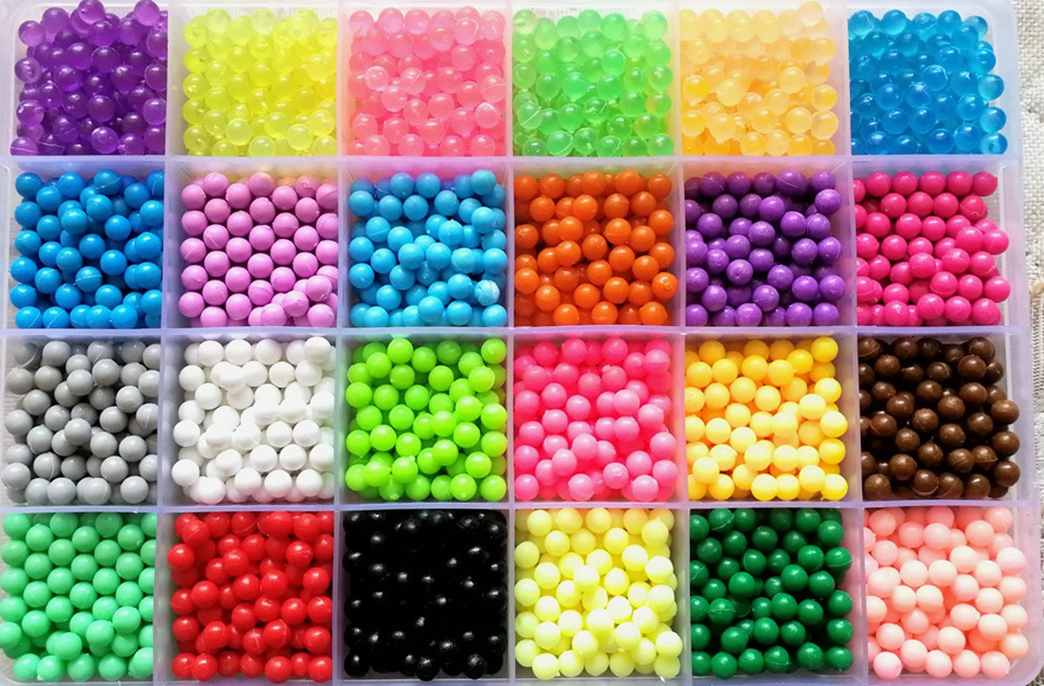 Vytung Water Fuse Bead 3600 Beads 24 Colors(6 Glow in Dark) 148 Designs Spray and Stick Refill Beads for Kids Beginners Activity Pack (24 Color Pack)