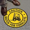 "SmartSign ""Caution - Watch For Forklifts"" Anti Slip Adhesive Floor Sign 