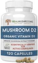 Organic Vegan Mushroom-Based Vitamin D2 Supplement(120 Caps), Vitamin D Vegan Supplement 1000IU,Organic Vegan Supplement, Adult Vitamins Supplements, D2 Mushroom Supplement Softgels, Vegan Vitamins
