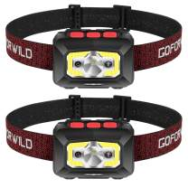 2 Pack of Rechargeable Headlamp, 500 Lumen COB Enhanced Head Lamp with Individual On/Off Button, Super Bright White Cree LED & Red Light, Motion Sensor, Waterproof, Perfect for Running, Camping,Hiking