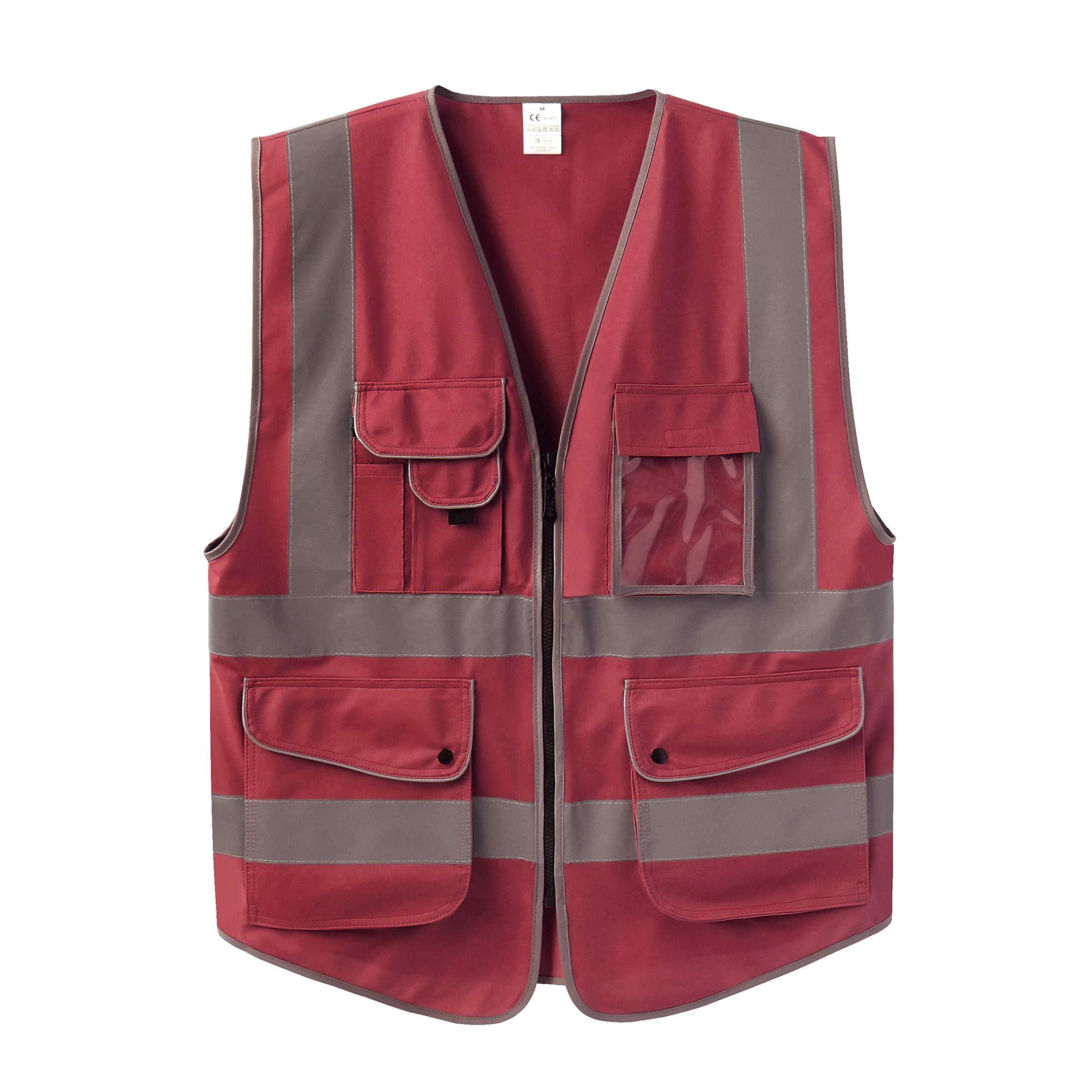 Uninova Safety Vest High Visibility - 9 Pockets Reflective Vest for Men & Women - ANSI/ISEA Standards (Small, Red)
