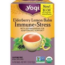 Yogi Tea - Elderberry Lemon Balm Immune and Stress Support (6 Pack) - With Ashwagandha For Adaptogenic Support - 96 Tea Bags