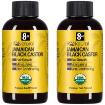Jamaican Black Castor Oil USDA Certified Organic for Hair Growth and Skin Conditioning - 100% Cold-Pressed 8oz bottle by IQ Natural (2 PACK KIT)