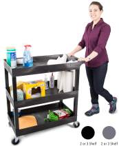 Tubstr 3 Shelf Utility Cart   Heavy Duty Service Cart Supports Up to 400 lbs   Tub Cart with Deep Shelves   Great for Warehouse, Garage, Cleaning, Office & More (32 x 18 / Black)