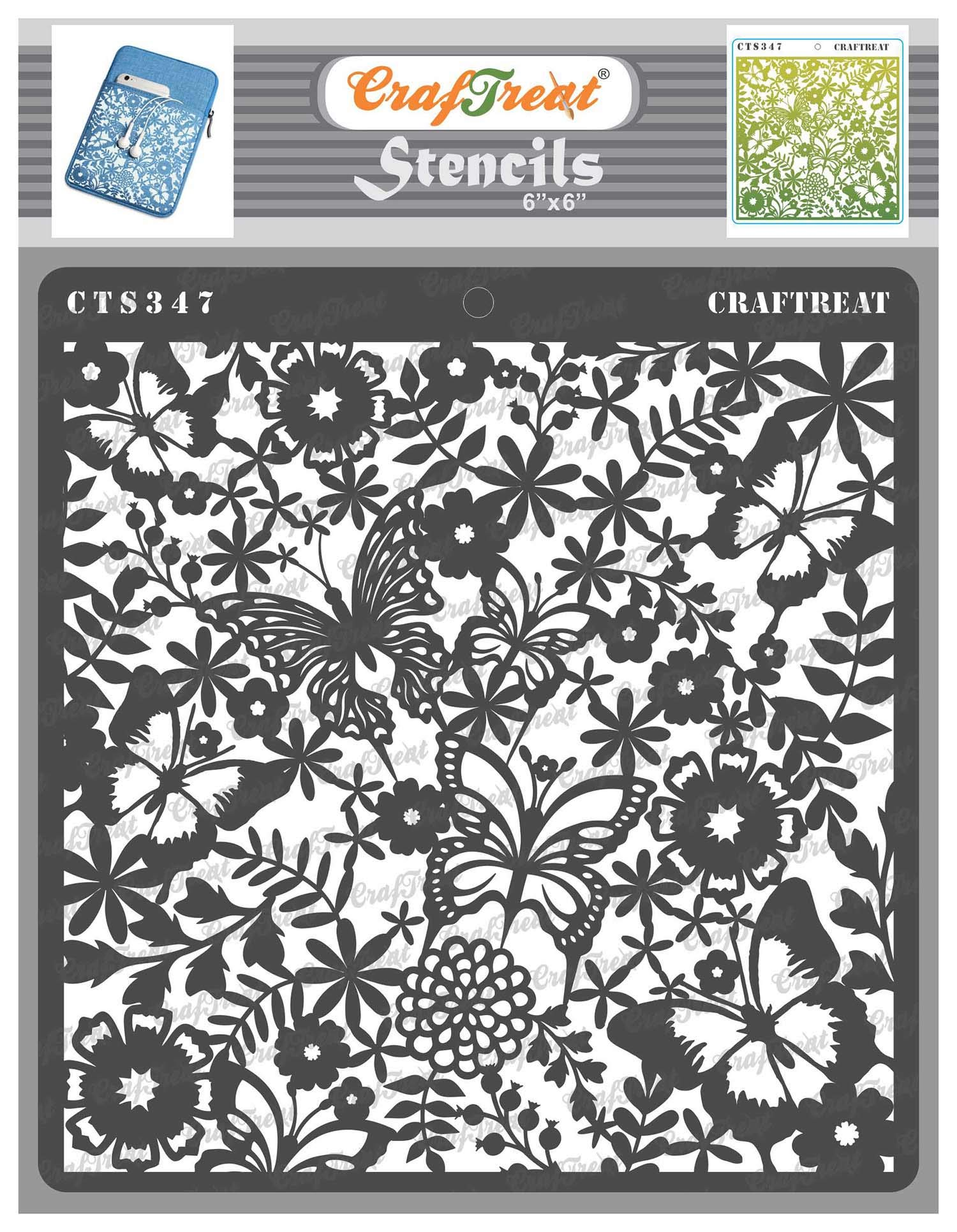 CrafTreat Butterfly Stencils for Painting on Wood, Canvas, Paper, Fabric, Floor, Wall and Tile - Butterfly Delight - 6x6 Inches - Reusable DIY Art and Craft Stencils - Butterfly Stencil Template