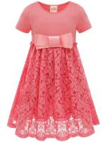Bonny Billy Girl's Casual Dress Satin Lace Kids Clothes with Bow