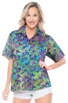 LA LEELA Everyday Essentials Casual Cotton Tropical Hawaiian Womens Shirt M