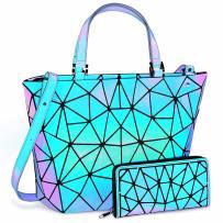 Holographic Purse, Geometric Luminous Purse Handbags Women Set, Iridescent Ladies Tote Bag Reflective Shoulder Bag with Wallet Set, Suitable for Traveling or Shopping, Purple (2PCS)