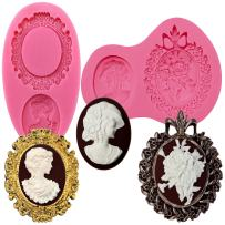 FUNSHOWCASE Cameo with Picture Frame Silicone Mold for Sugarcraft, Resin Epoxy, Polymer Clay Crafting Projects 2-Count