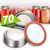 """70pcs Regular Mouth Canning Lids,70mm Mason Jar Canning Lids,kerr Jars,reusable Leak Proof Split-type Silver Lids With Silicone Seals Rings,Food Grade Material,100% Fit & Airtight 2.76""""(Silver)"""