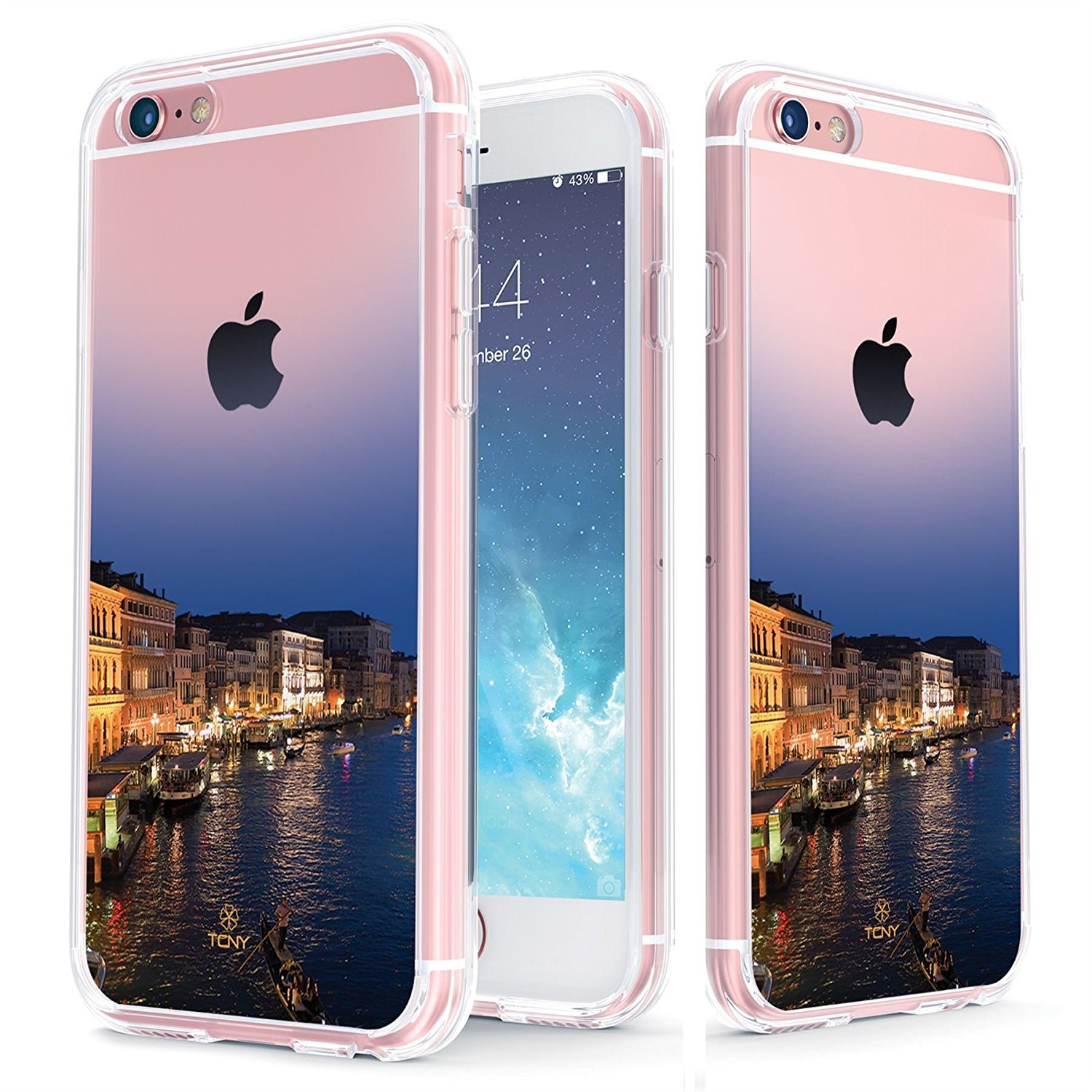 True Color Case Compatible with iPhone 6s Plus Case - Clear-Shield Venice Italy [Urban Landmarks Collection] Printed on Clear Back - Soft and Hard Thin Shock Absorbing Protective Bumper Cover