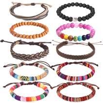Wrap Bead Braided Tribal Leather Woven Stretch Bracelet - Boho Hemp Linen String Bracelet for Men Women Girls