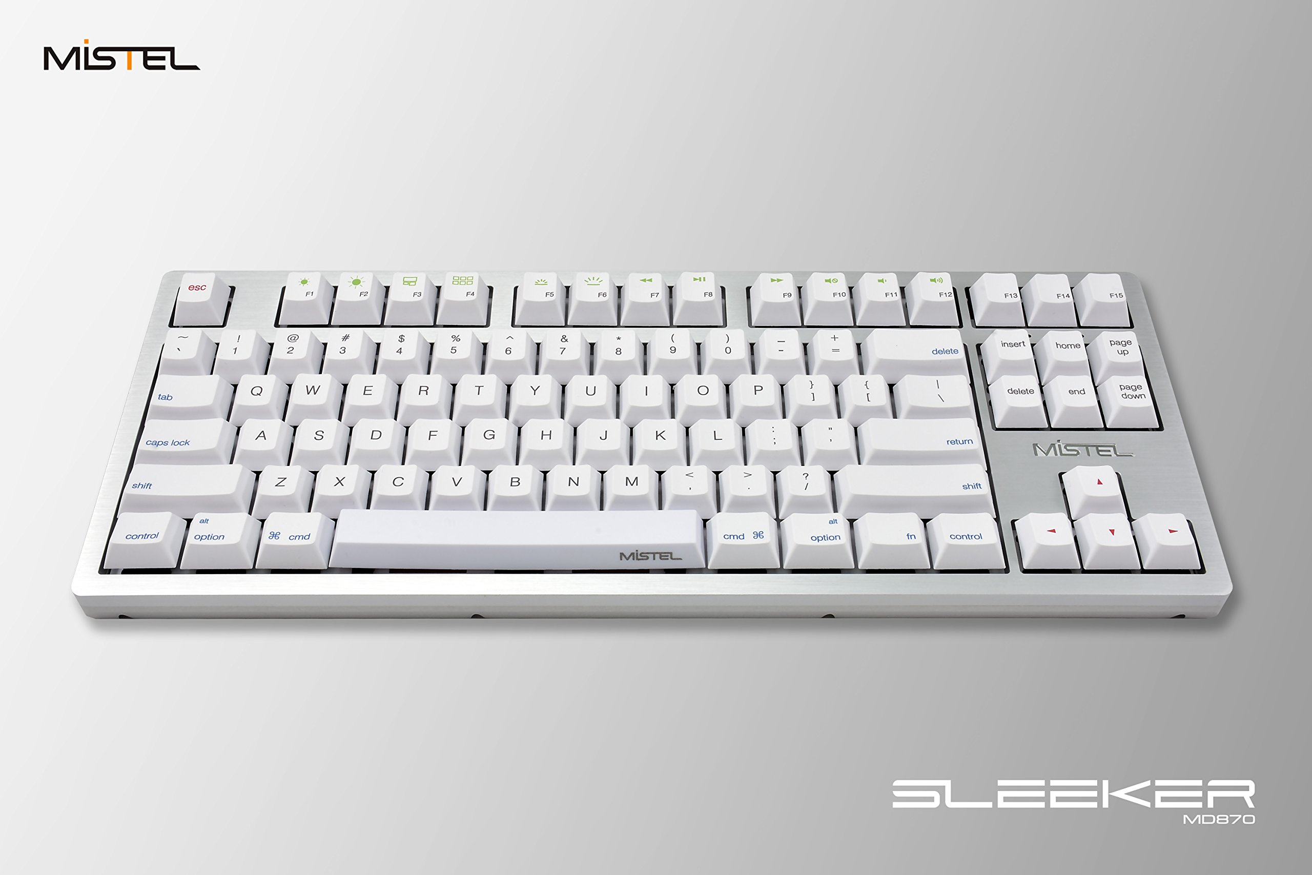 Mistel SLEEKER MD870 Backlit TKL Mechanical Keyboard with Cherry MX Brown Switch and Silver Full CNC Aluminum Case for Mac and Windows (Single White LED, PBT Dye-Sub Keycap, Macro Support, ANSI/US)
