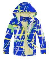 Hiheart Boys Girls Fleece Lined Hooded Jackets Waterproof Outdoor Windbreaker