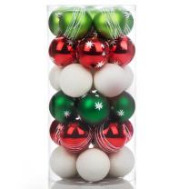 "iPEGTOP Shatterproof Christmas Tree Decorations Ball Ornaments, Traditional Crafting Holiday Wedding Party Baubles Red Green White, 60mm/2.4"", 30 Set"