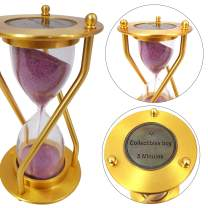 A CollectiblesBuy Branded Kitchen & Home Timers 5 Minute golden finish Pink Sand Hourglass clock Retro Gift Item