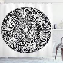 """Ambesonne Gothic Shower Curtain, Renaissance Theme Pattern Victorian Antique Mystical Imaginary Medieval Artwork, Cloth Fabric Bathroom Decor Set with Hooks, 75"""" Long, White and Black"""