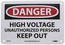 """NMC D444A OSHA Sign, Legend """"DANGER - HIGH VOLTAGE UNAUTHORIZED PERSONNEL KEEP OUT"""", 10"""" Length x 7"""" Height, 0.040 Aluminum, Black/Red on White"""