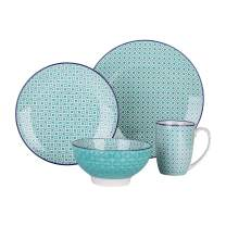 vancasso, Series MACARON, Porcelain Dinnerware Set, 4 pieces Set of 1 Dinner Set with Dinner Plate, Salad Plate, Bowl and Mug for Family Dinner, Party - Turquoise